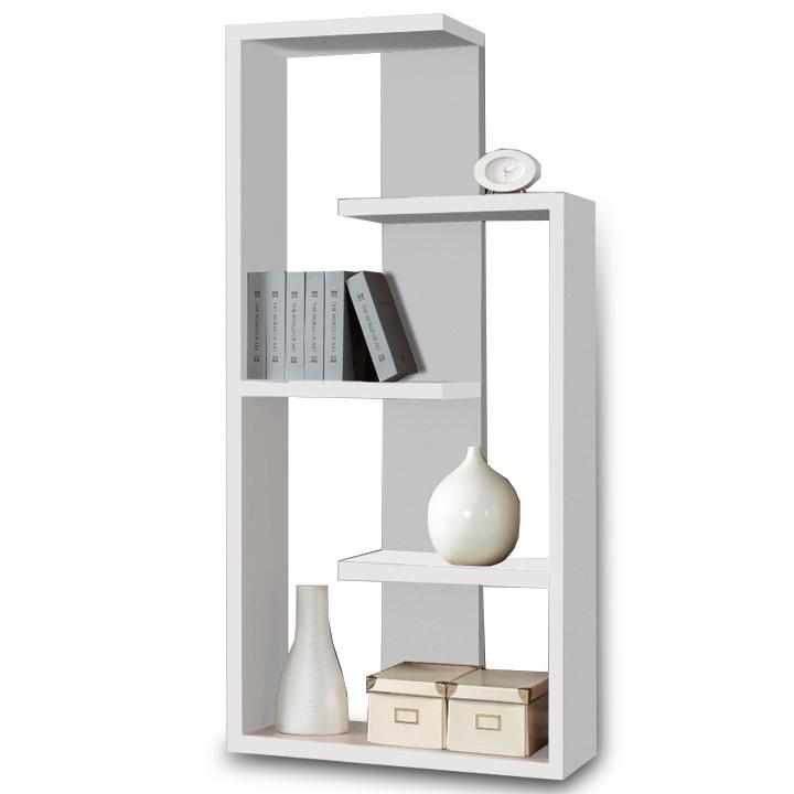 Többfunkciós könyvespolc, fehér, DTD, ENZO D-256