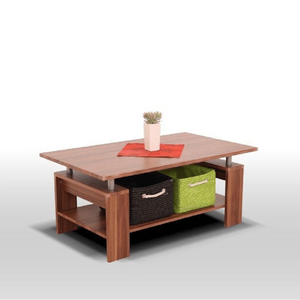 Dohányzóasztal, világos diófa/ezüst, ROKO