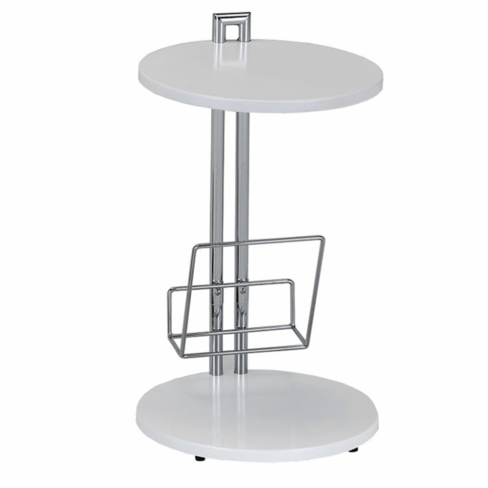 Příruční stolek s držiadkom na časopisy, bílá / chromovaná, ANABEL