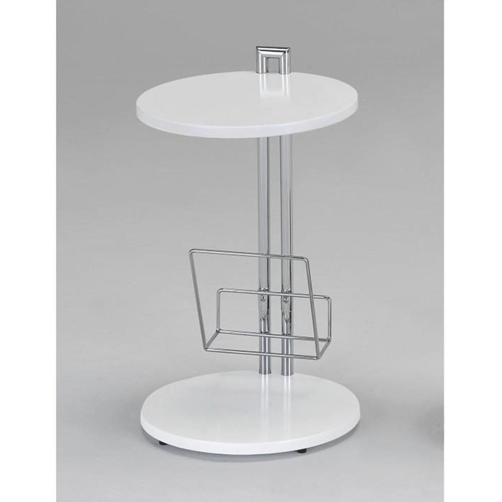 Příruční stolek s držiadkom na časopisy, bílá / chromovaná, ANABEL, TEMPO KONDELA