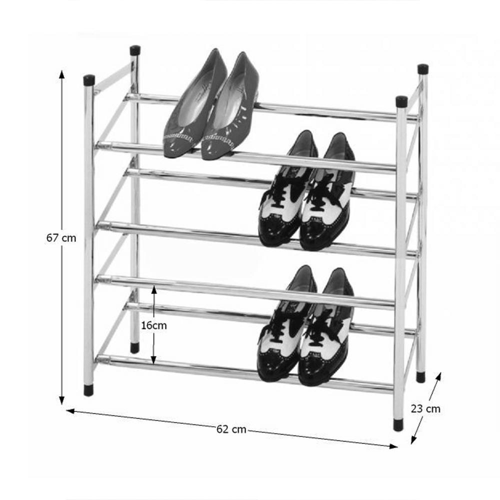 4-soros állítható cipőpolc, króm, DITA