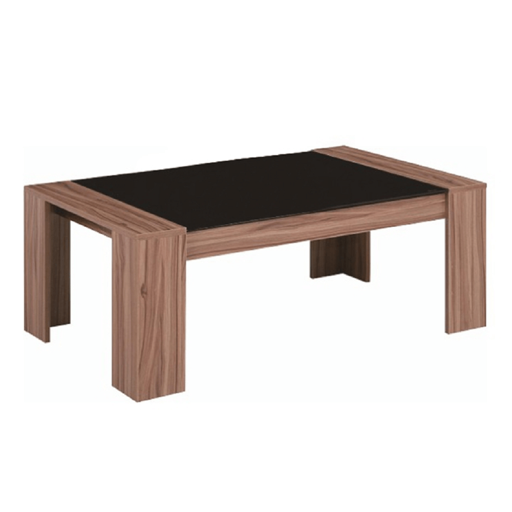 RAYMOND - Konferenční stolek, ořech/černé sklo, TEMPO KONDELA