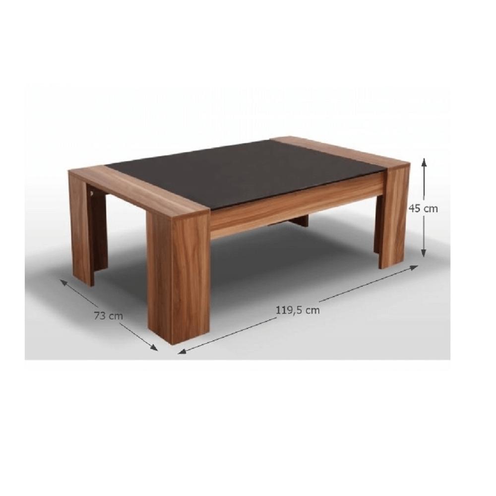 Konferenční stolek, ořech/černé sklo, RAYMOND