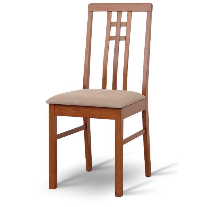 Stolička, tmavý dub/látka sivo-béžová, SILAS