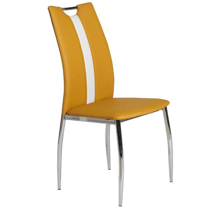 Jedálenská stolička, ekokoža žltá kari, biela/chróm, OLIVA