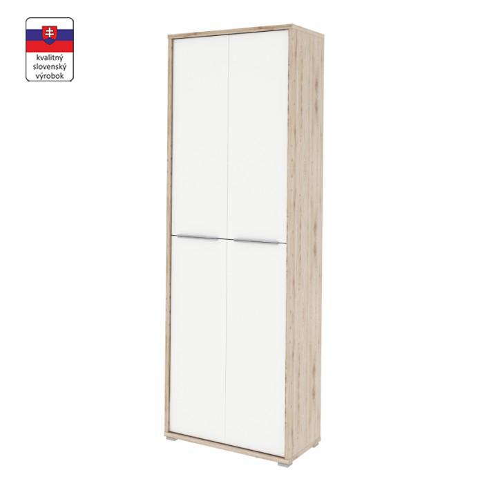 Magas szekrény polcokkal, san remo/fehér, RIOMA TYP 5
