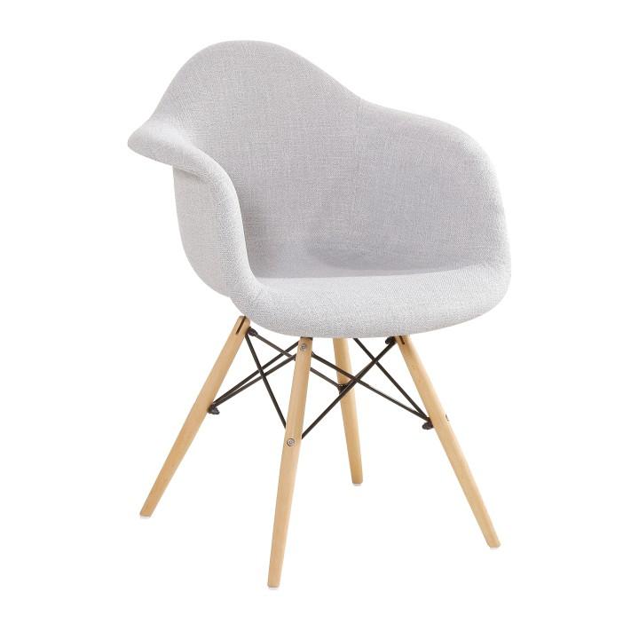 Fotel, szürke szövet / bükkfa, DAREL