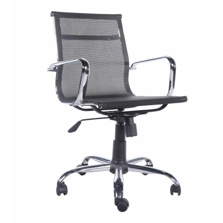 Kancelárske kreslo, sieťovina čierna/chróm, MELIS