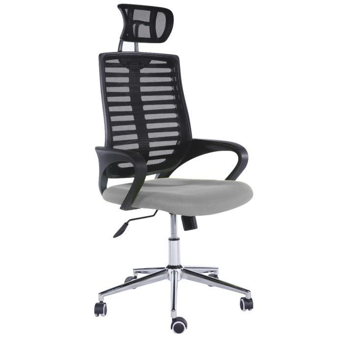 Kancelárske kreslo, sieťovina čierna/sivá, FLORE