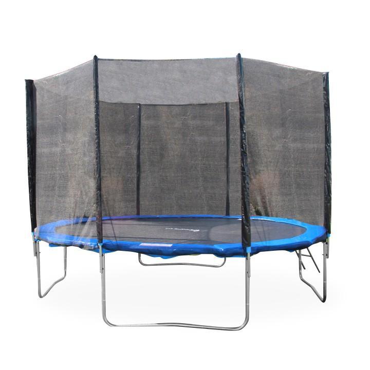 TEMPO KONDELA Trampolína s ochrannou sieťou a rebríkom, 252 cm, modrá/čierna, JUMPY 2 - Tempo nábytek