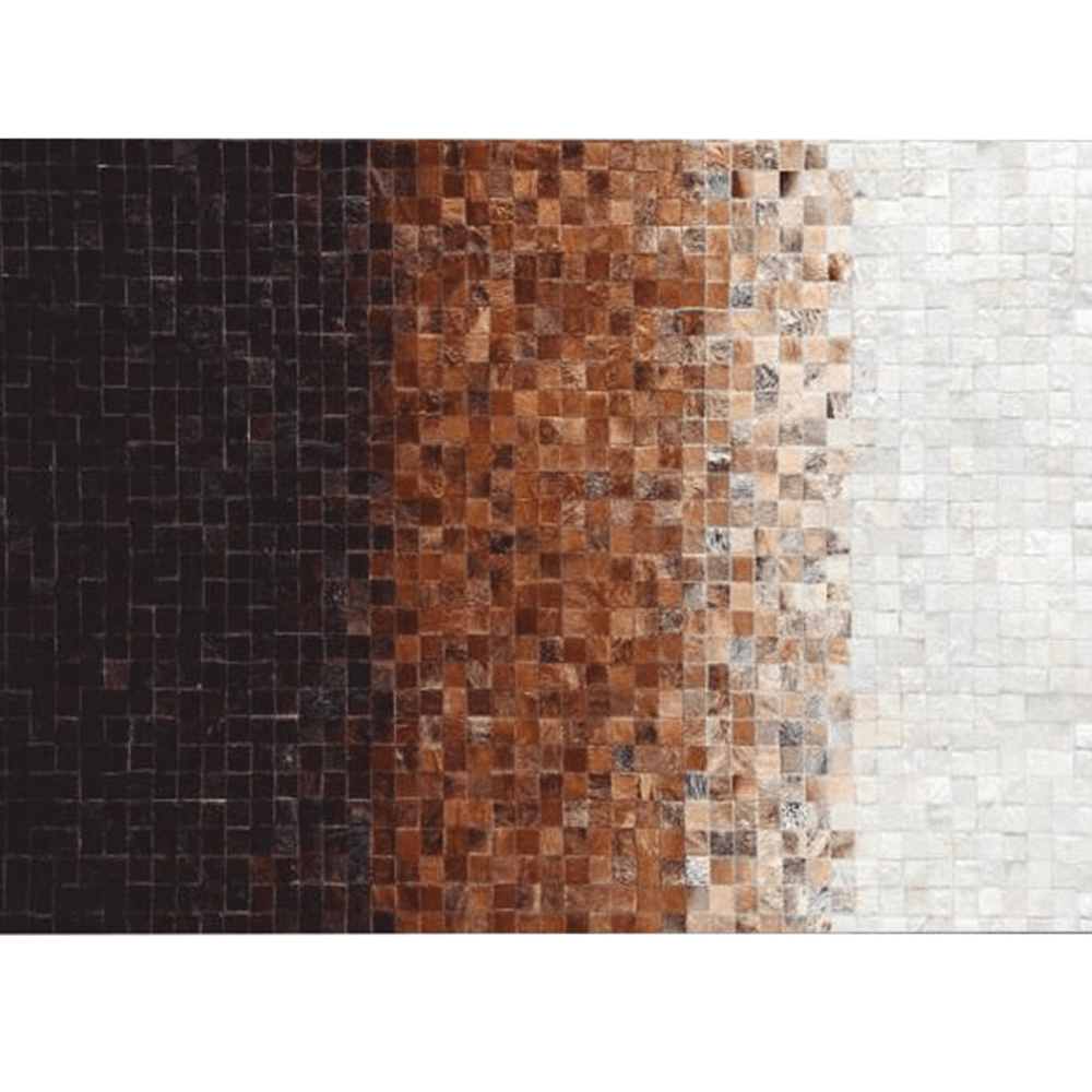 Luxusný kožený koberec, biela/hnedá/čierna, patchwork, 120x180, KOŽA TYP 7