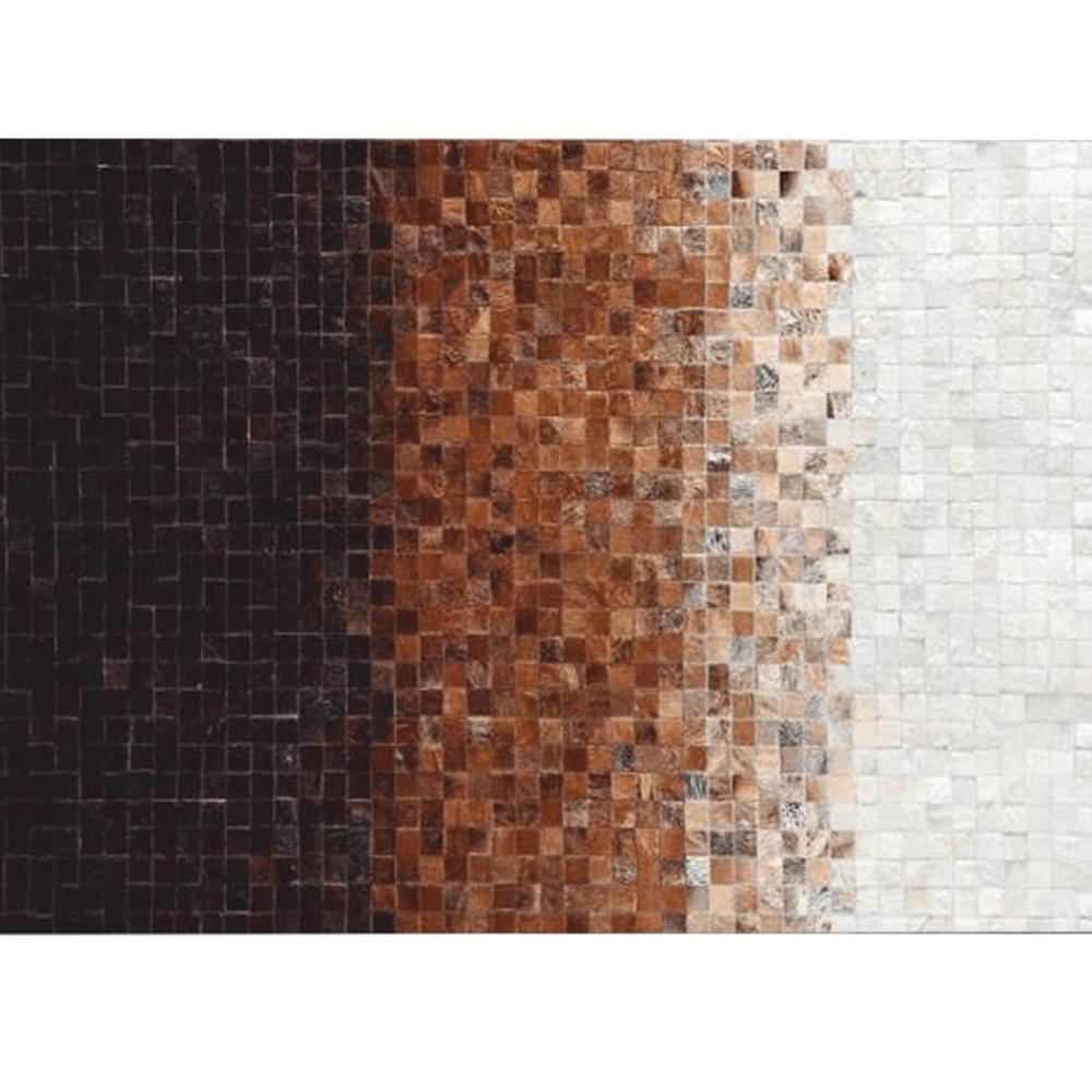 Luxus bőrszőnyeg, fehér/barna /fekete, patchwork, 200x300, bőrTIP 7