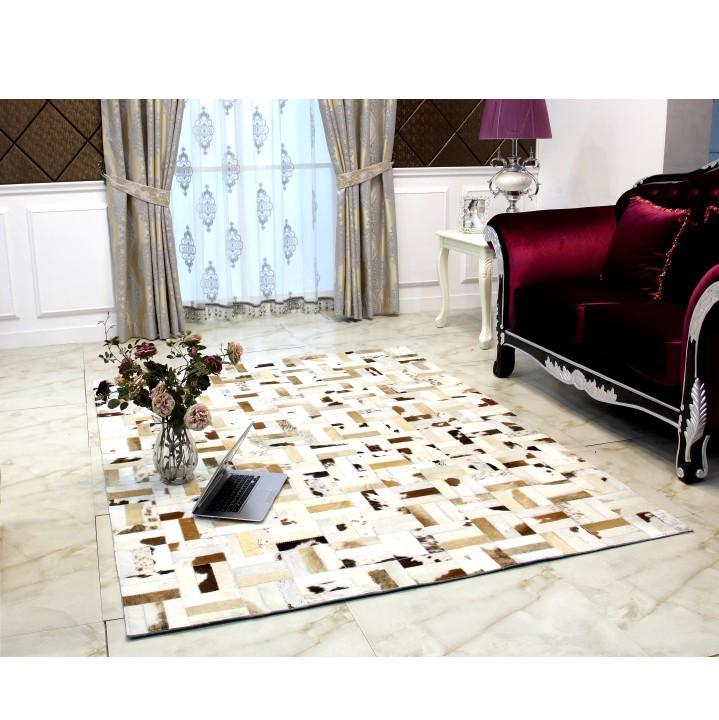 Luxus bőrszőnyeg, fehér/szürke/barna, patchwork, 200x300, bőr TIP 1