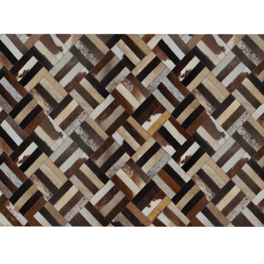 Luxusný kožený koberec, hnedá/čierna/béžová, patchwork, 200x300 , KOŽA TYP 2