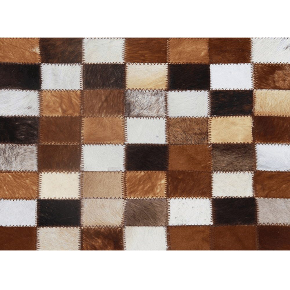 Luxusný kožený koberec, hnedá/čierna/biela, patchwork, 200x304, KOŽA TYP 3