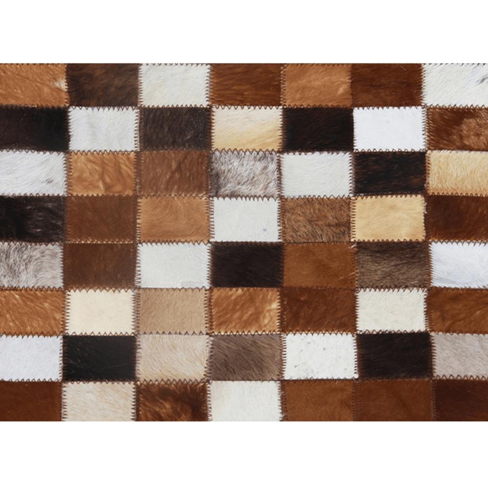 Luxusný kožený koberec, hnedá/čierna/biela, patchwork, 80x144, KOŽA TYP 3