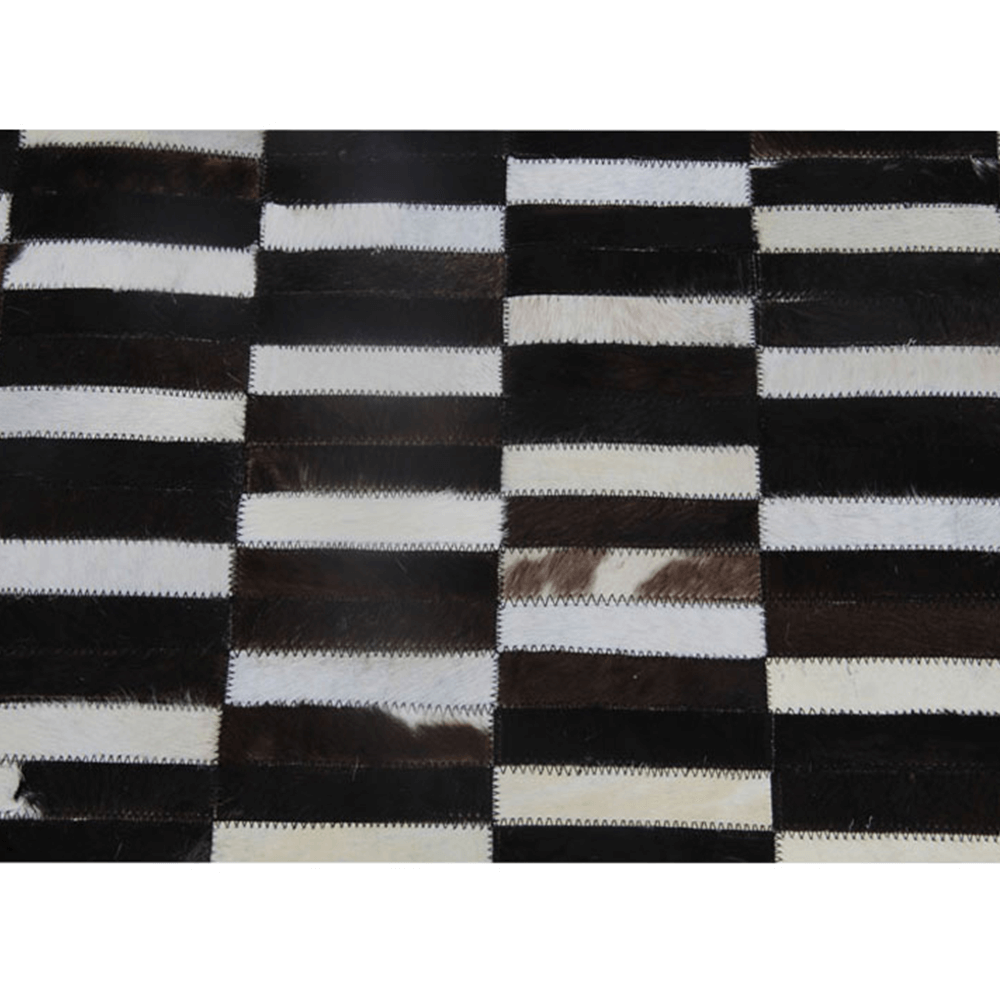 Luxus bőrszőnyeg, barna /fekete/fehér, patchwork, 171x240, bőr TIP 6