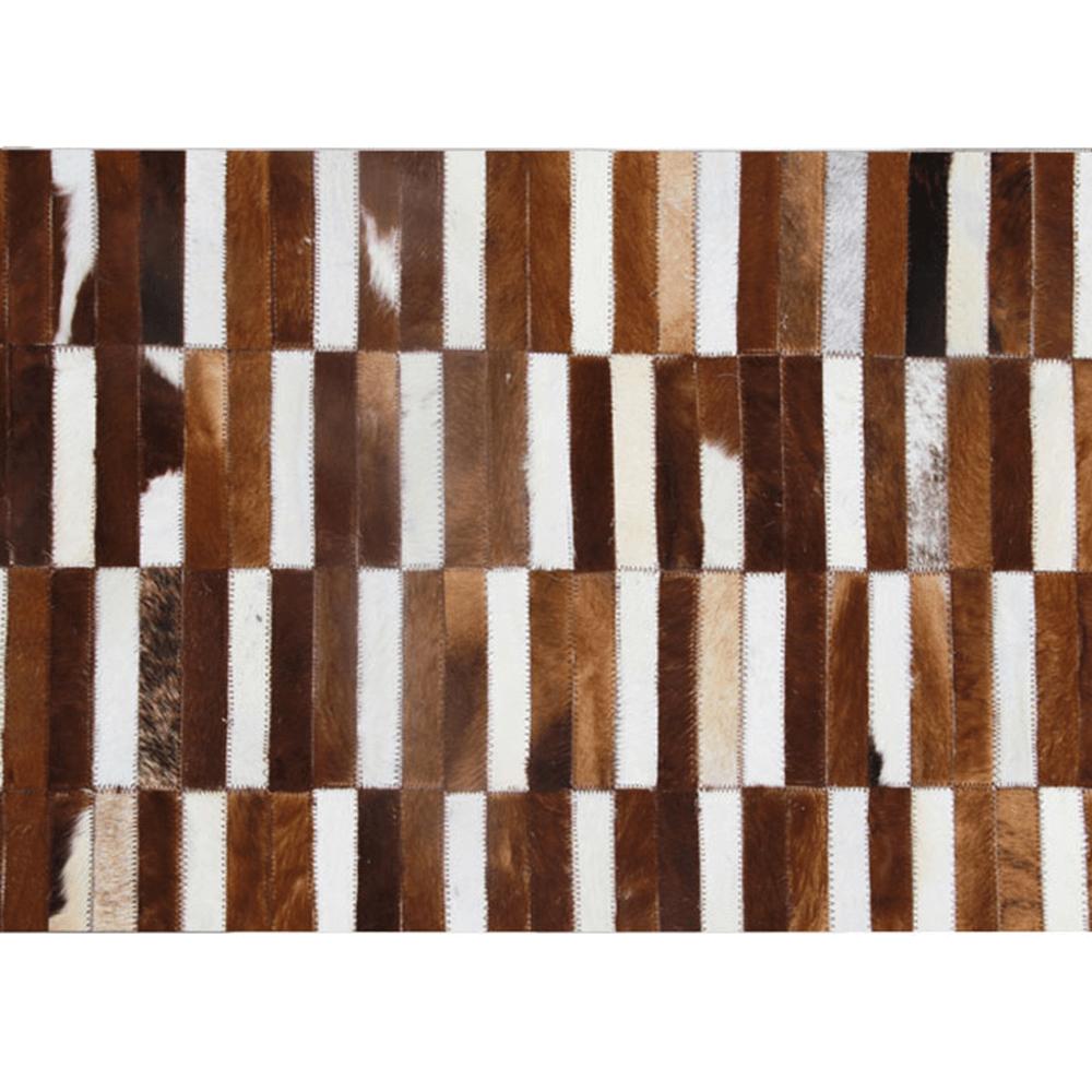 Luxus bőrszőnyeg, barna /fehér, patchwork, 201x300, bőr TIP 5