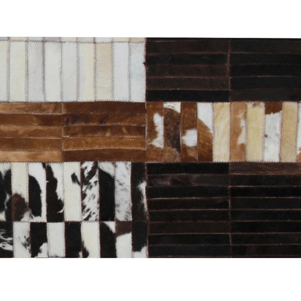 Covor de lux din piele, negru/maro/alb, patchwork, 69x140, PIELE DE VITĂ TIP 4