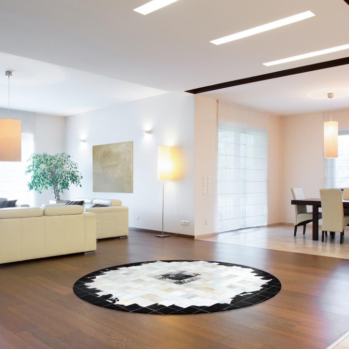Luxus bőrszőnyeg, fekete/bézs/fehér, patchwork, 200x200, bőr TIP 9
