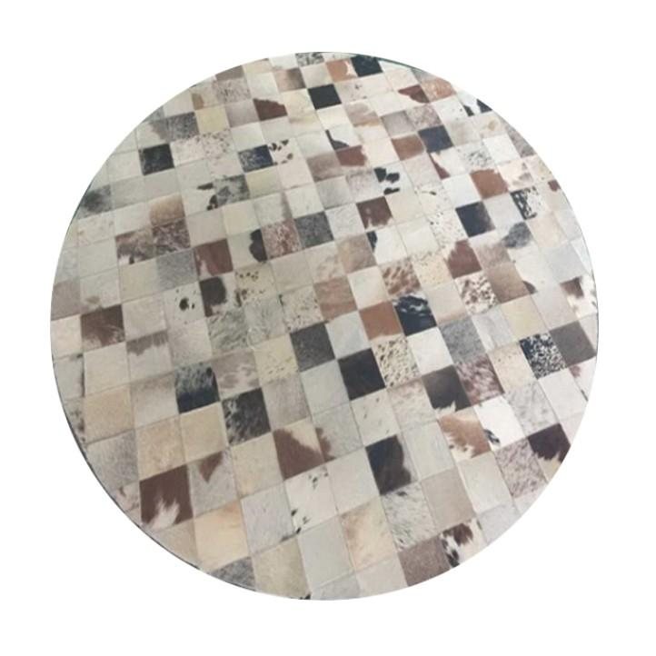 Luxus bőrszőnyeg, fehér/szürke/barna, patchwork, 150x150, bőr TIP 10