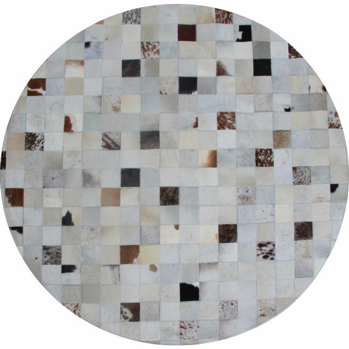 TEMPO KONDELA Luxusný kožený koberec, biela/sivá/hnedá, patchwork, 150x150, KOŽA TYP 10