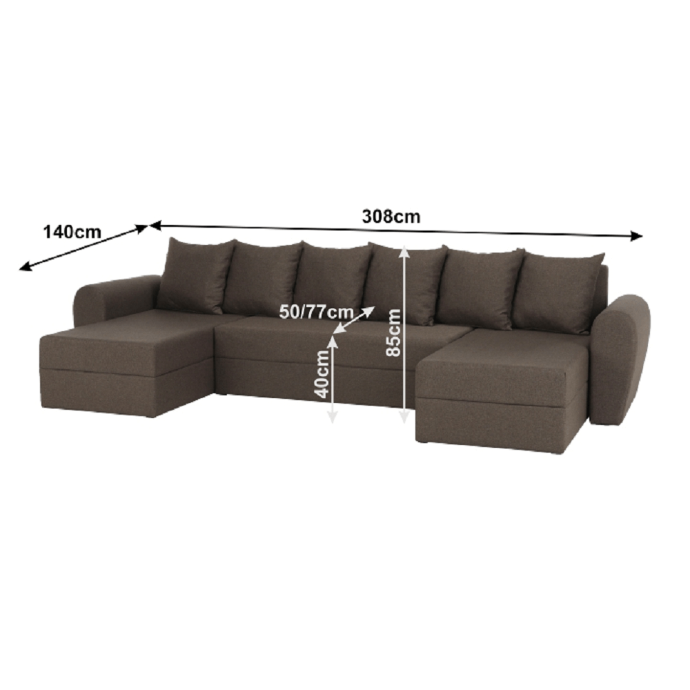 TIGER U alakú univerzális ülőgarnitúra