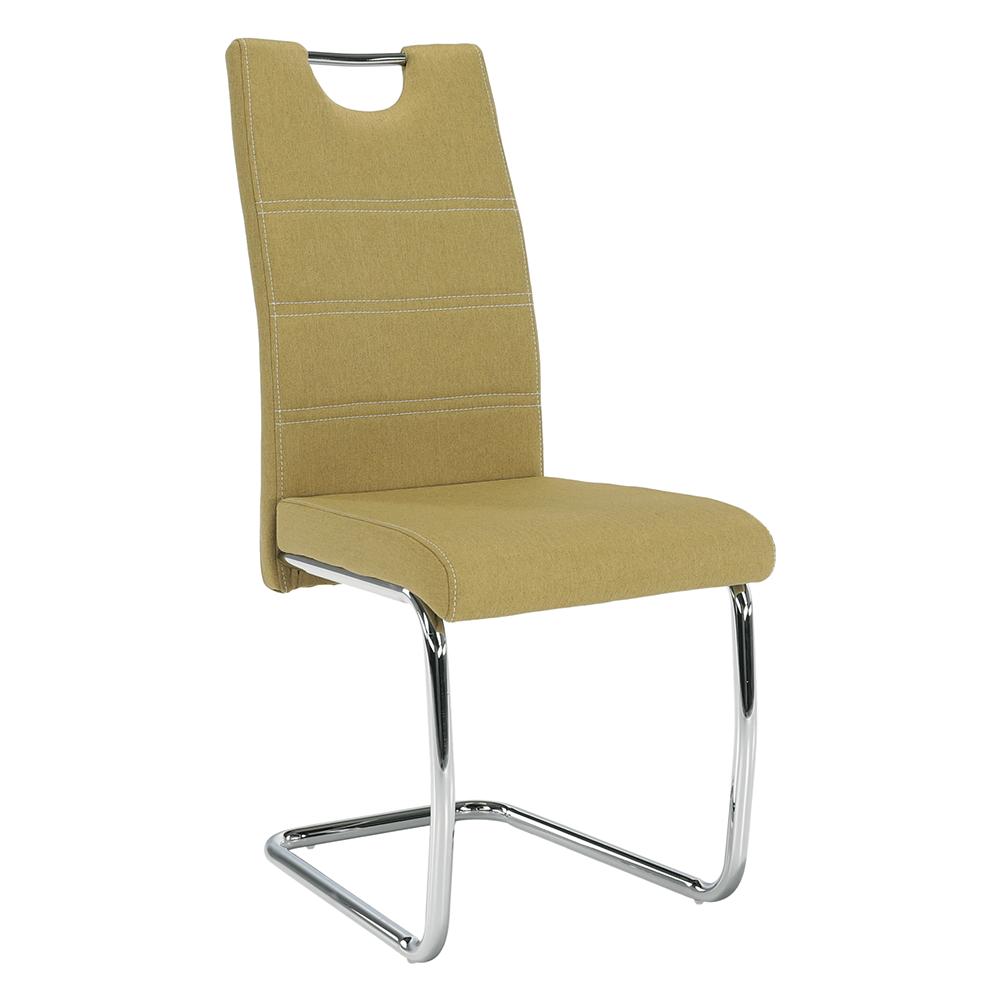 Jídelní židle, zelená látka, světlé šití / chrom, ABIRA NEW, TEMPO KONDELA