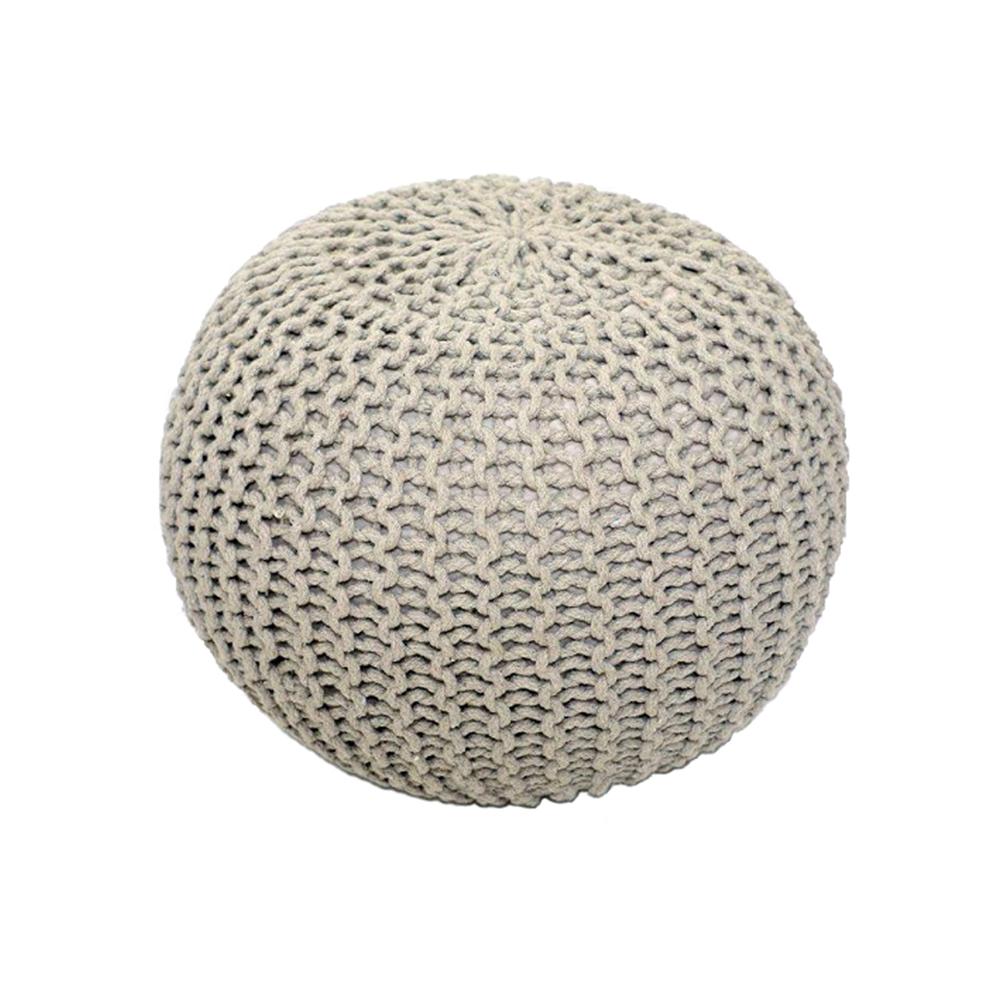 Kötött puff krém színű pamut, GOBI TIP 1