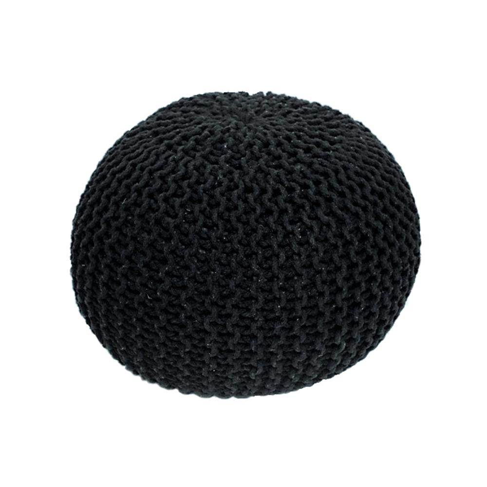Kötött puff, fekete pamut, GOBI TYP 1