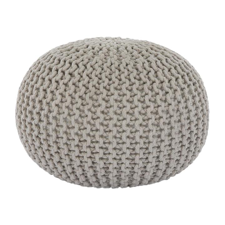 Pletený taburet, krémová bavlna, GOBI TYP 2