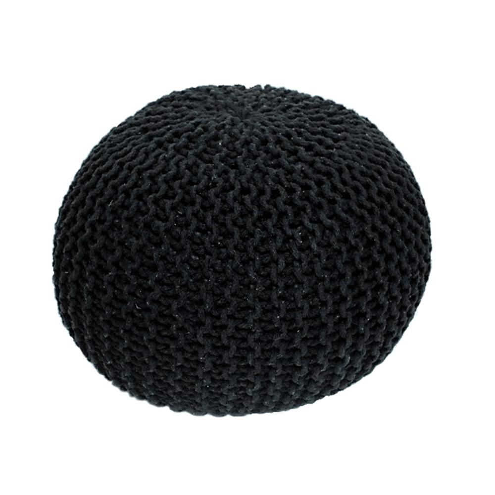 Pletený taburet, černá bavlna, GOBI TYP 2, TEMPO KONDELA
