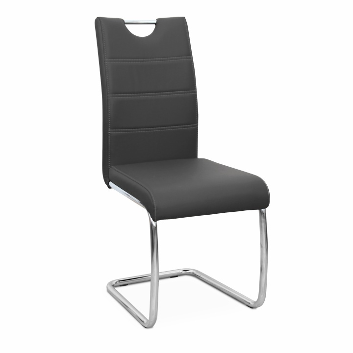 Étkező szék, króm/fehér textilbőr, ABIRA NEW