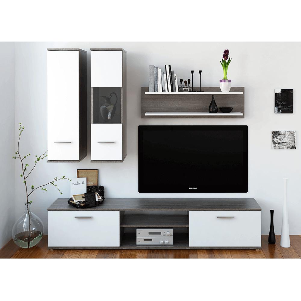 Obývací stěna, dub truflový / bílá, WAW, TEMPO KONDELA