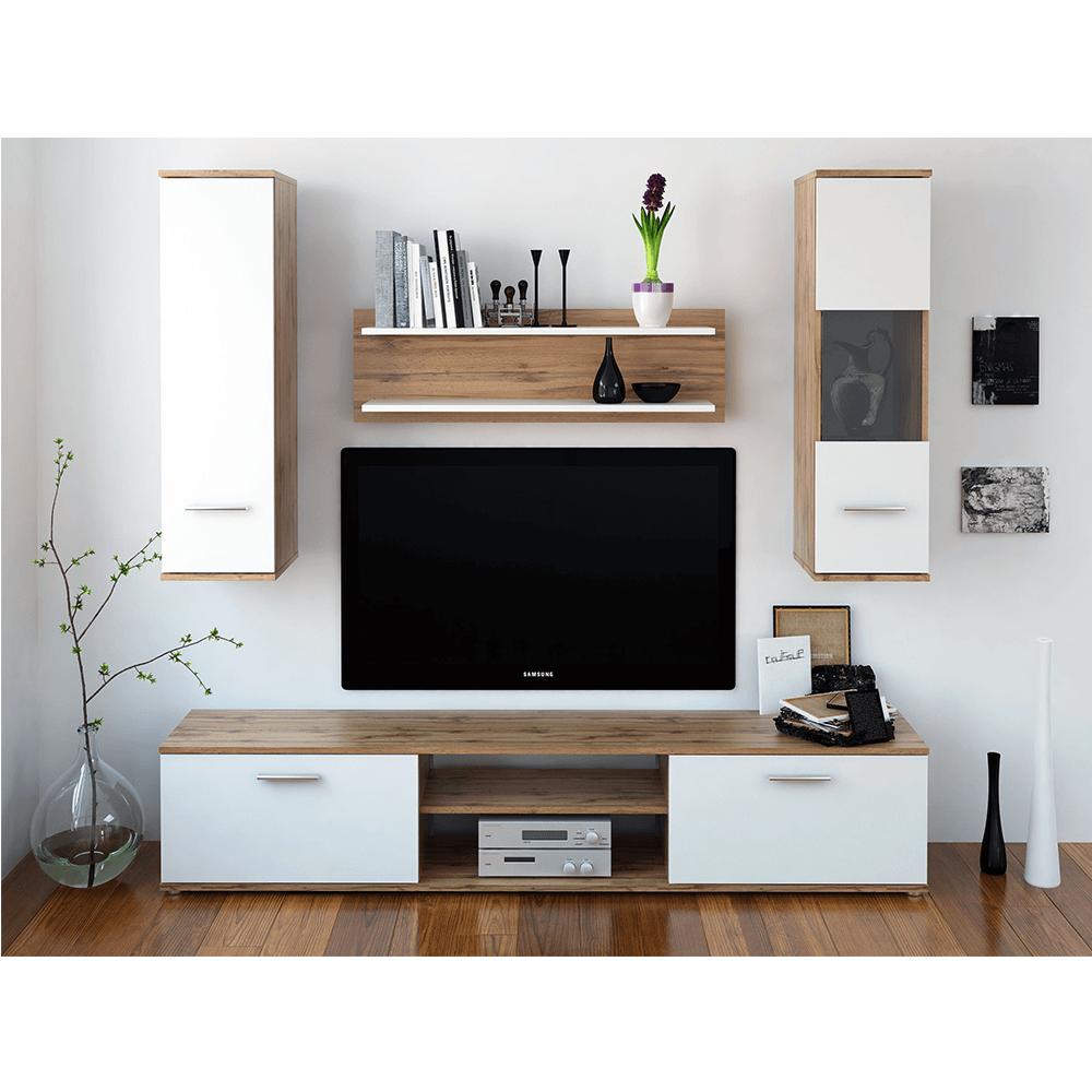Obývací stěna, dub wotan / bílá, WAW