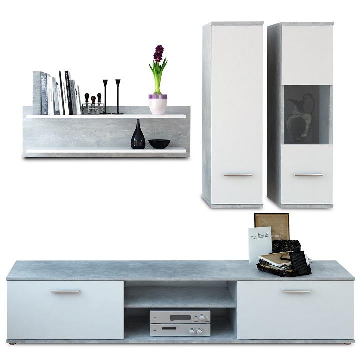 Nappali szekrénysor, beton/fehér, WAW NEW