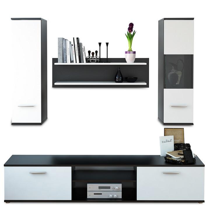 WAW New nappali szekrénysor fekete/fehér