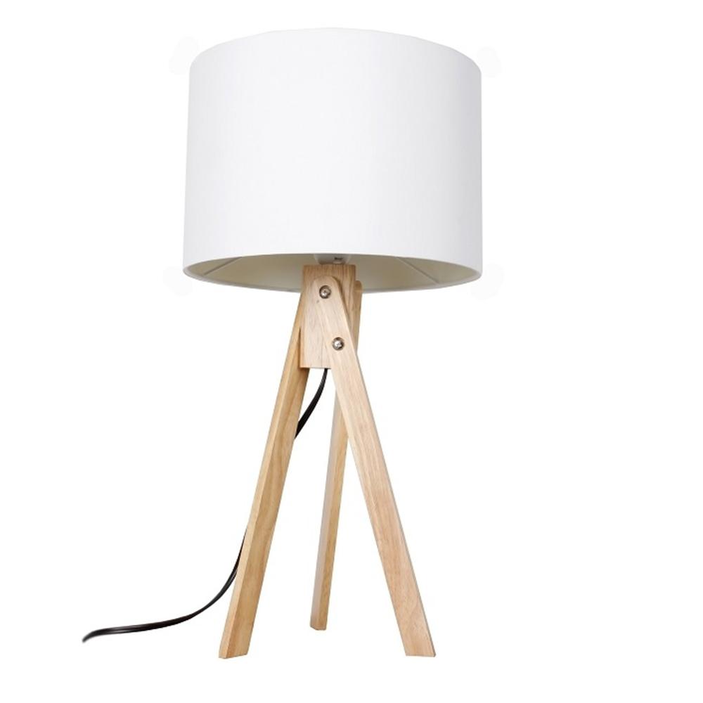 Stolní lampa, bílá / přírodní dřevo, LILA TYP 1, TEMPO KONDELA