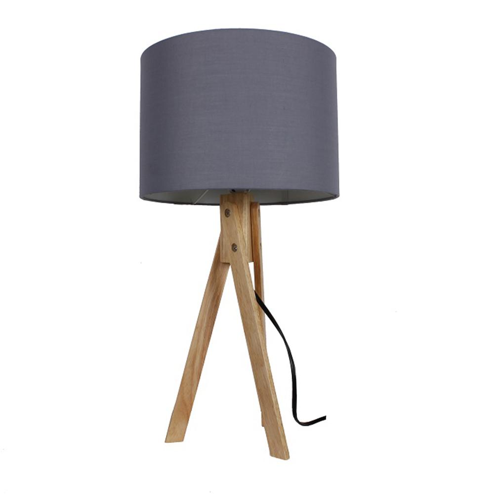 Stolní lampa, šedá / přírodní dřevo, LILA TYP 2, TEMPO KONDELA