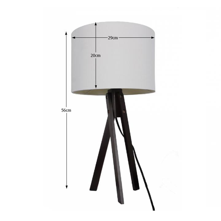 Stolná lampa, biela/drevo čierne, LILA Typ 4