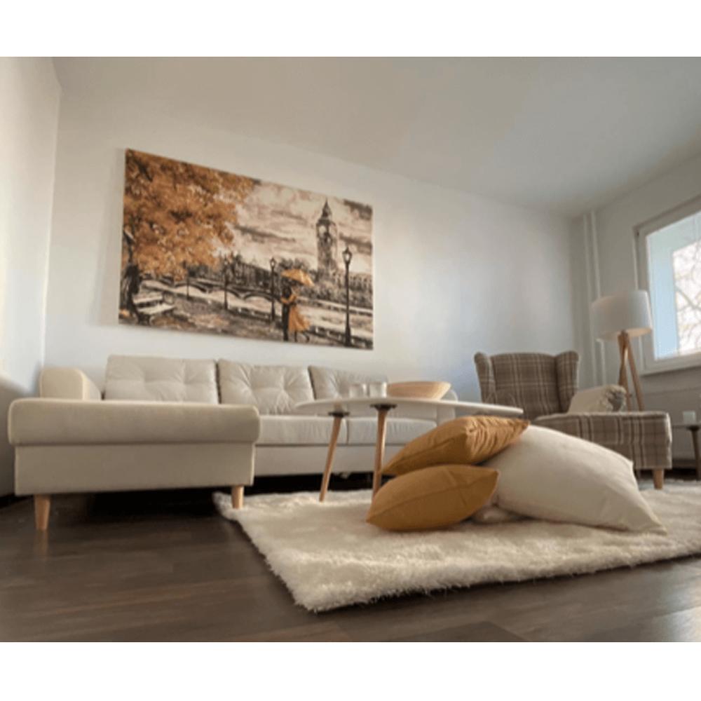 Stojací lampa, bílá / přírodní dřevo, LILA TYP  6