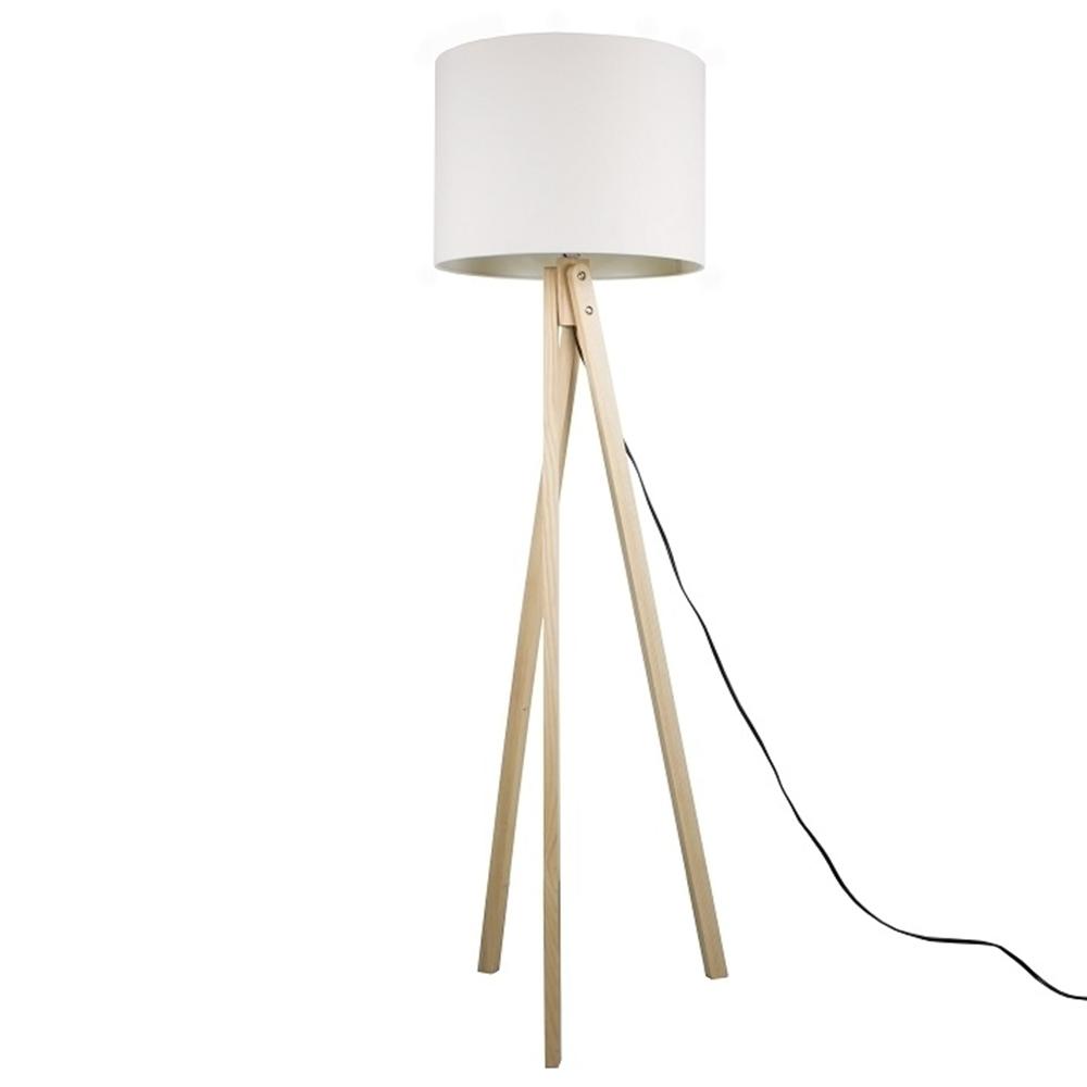 Stojací lampa, bílá / přírodní dřevo, LILA TYP  6, TEMPO KONDELA