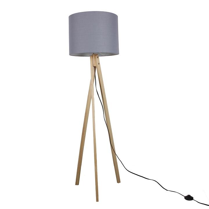 Stojacia lampa, sivá/prírodné drevo, LILA Typ 7