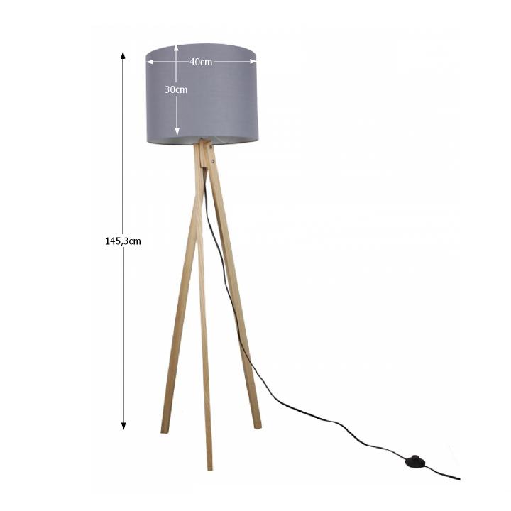 Állólámpa, szürke/fa natural, LILA TYP 7