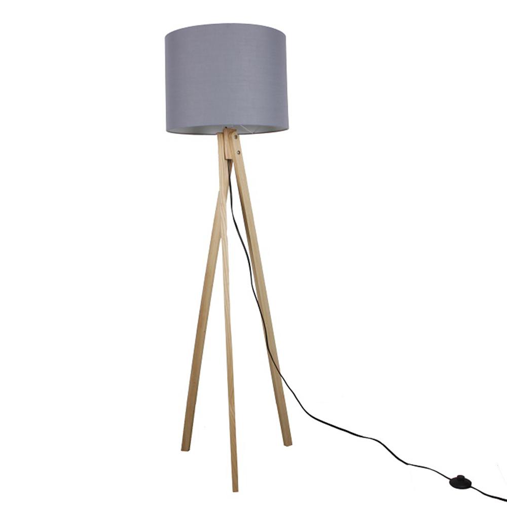 Stojacia lampa, sivá/prírodné drevo, LILA Typ 7 LS2062