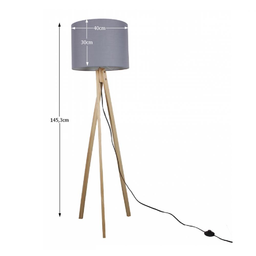 LILA TYP 7 álló lámpa, szürke / természetes fa