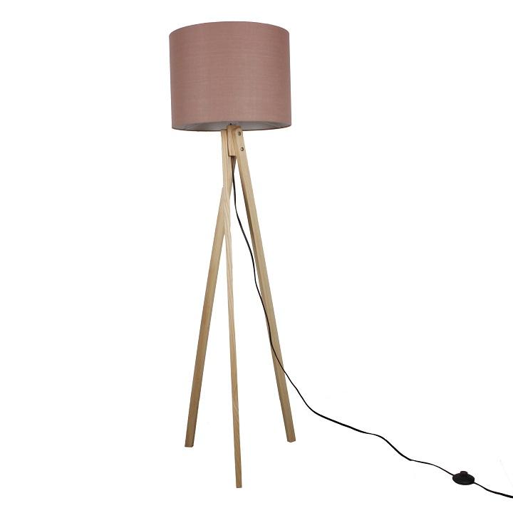 Stojacia lampa, Taupe hnedá/prírodné drevo, LILA Typ 8