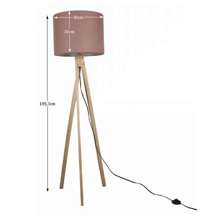 LILA TYP 8 álló lámpa, barna Taupe / természetes fa
