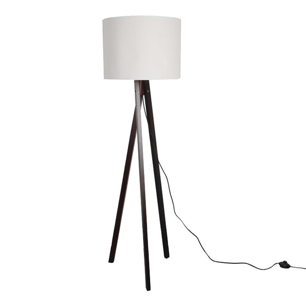 Stojací lampa, bílá / dřevo černé, LILA TYP 9, TEMPO KONDELA