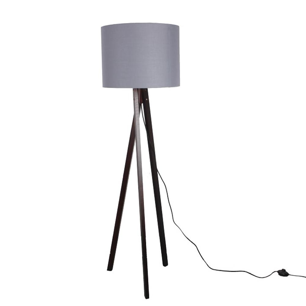 Stojací lampa, šedá / dřevo černé, LILA TYP 10, TEMPO KONDELA